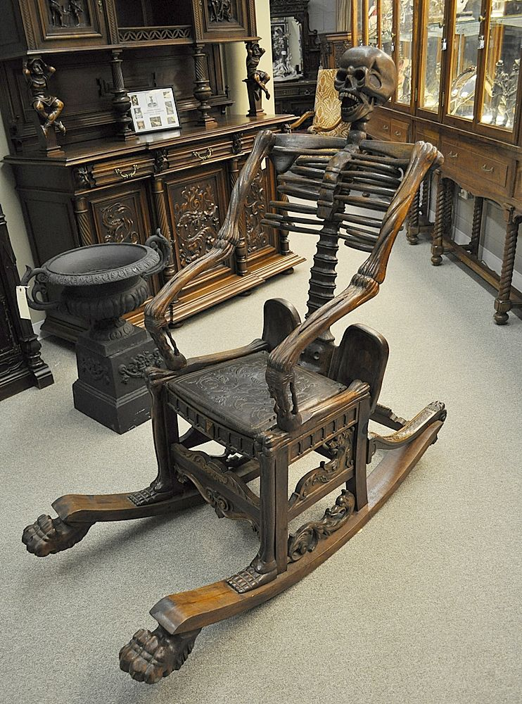 a skeleton rocking chair from the estate of vincent price