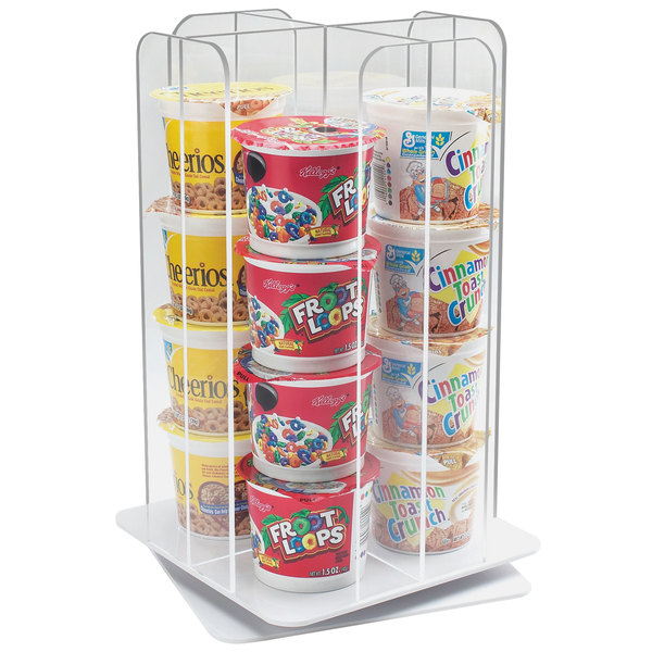 Cal Mil 1539 12 Clear Acrylic 4 Section Revolving Cereal Cup Organizer In 2020 Cereal Dispenser Cal Mil Yogurt Shop