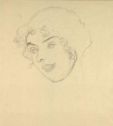 Girl's head to the left by Gustav Klimt 1916
