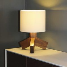 Decoration A Battery Powered Table Lamp With Unique Wood Base And