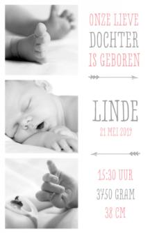 Geboortekaartje fotos meisje met typografie