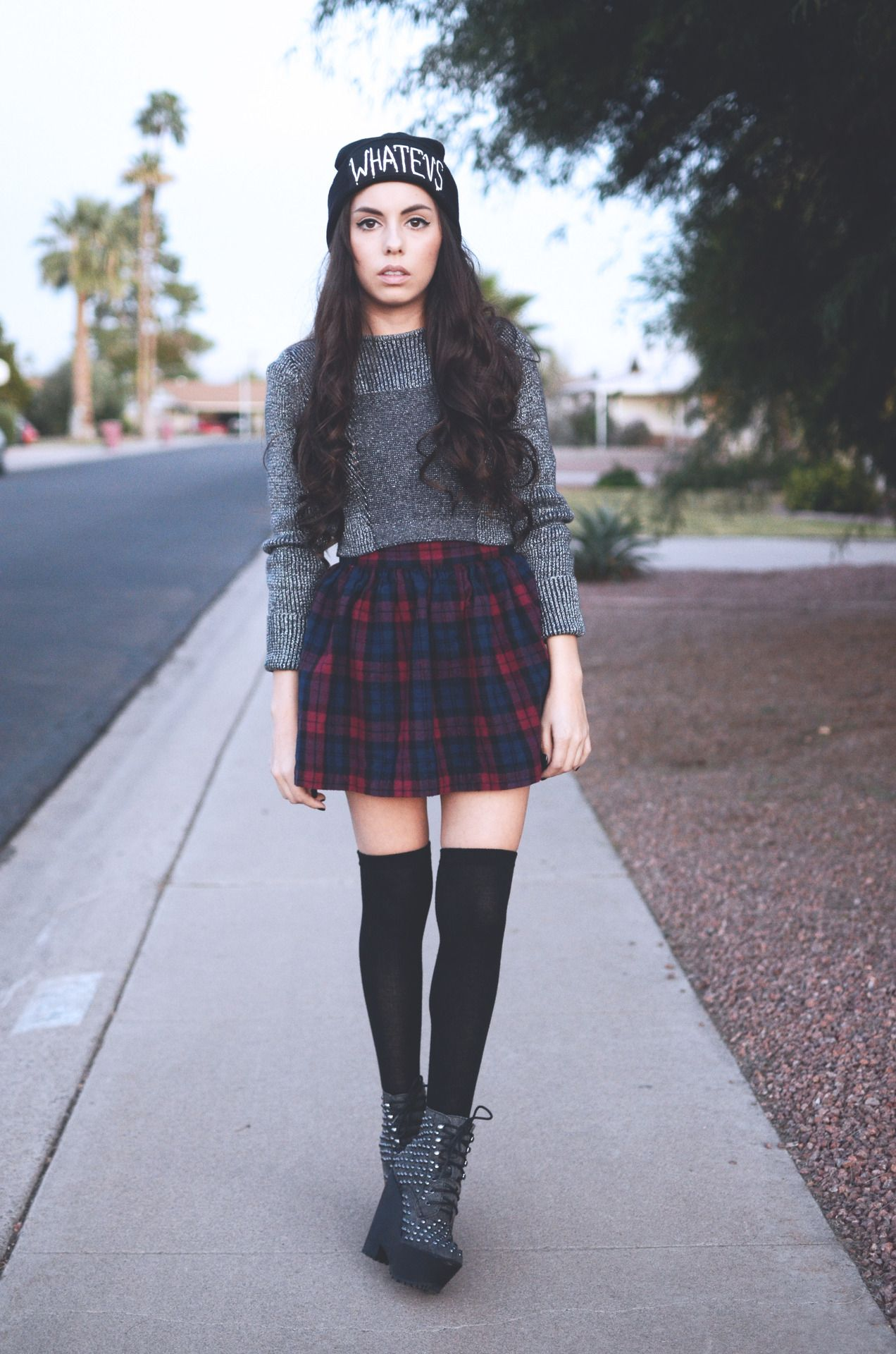of the day h cropped sweater thrifted plaid skirt