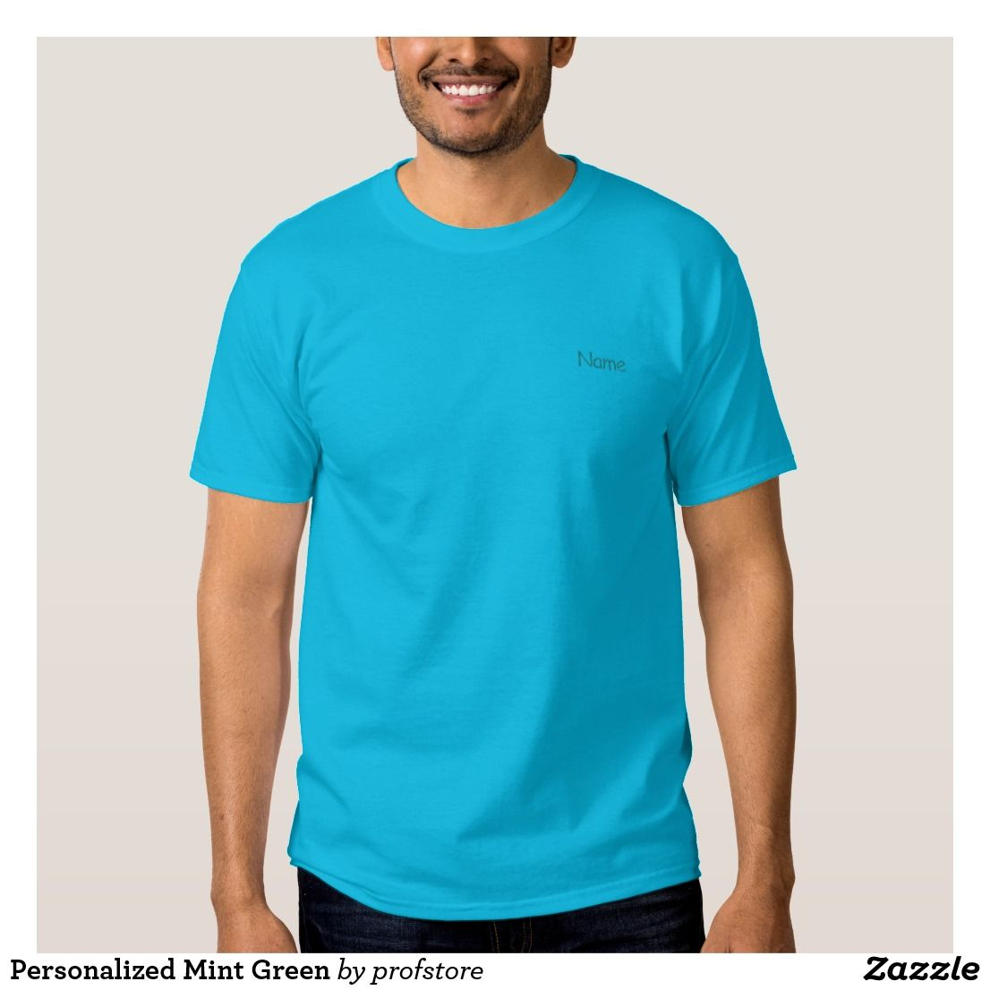 Personalized Mint Green Embroidered T Shirt Teal Create Your Own