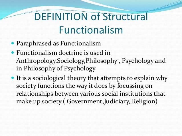 Structural Functionalism Community Psychology Psychology