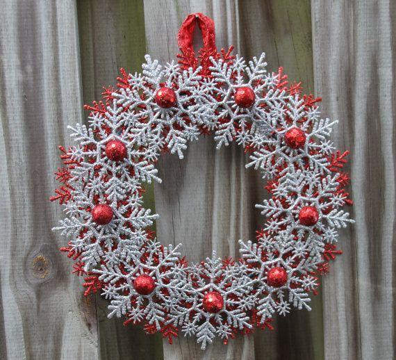 Christmas Snowflake Wreath - Glitter Wreath - Non Traditional - christmas home decor