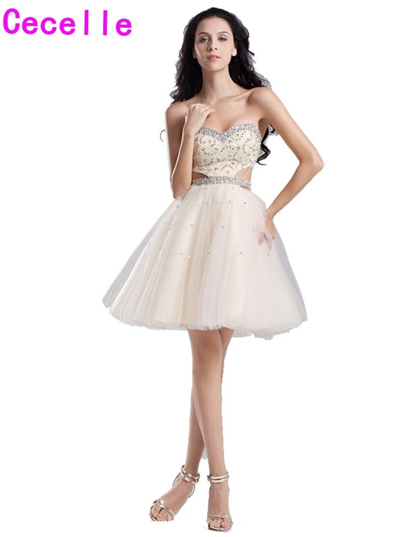 Real champagne homecoming dresses short sweetheart beaded bodice