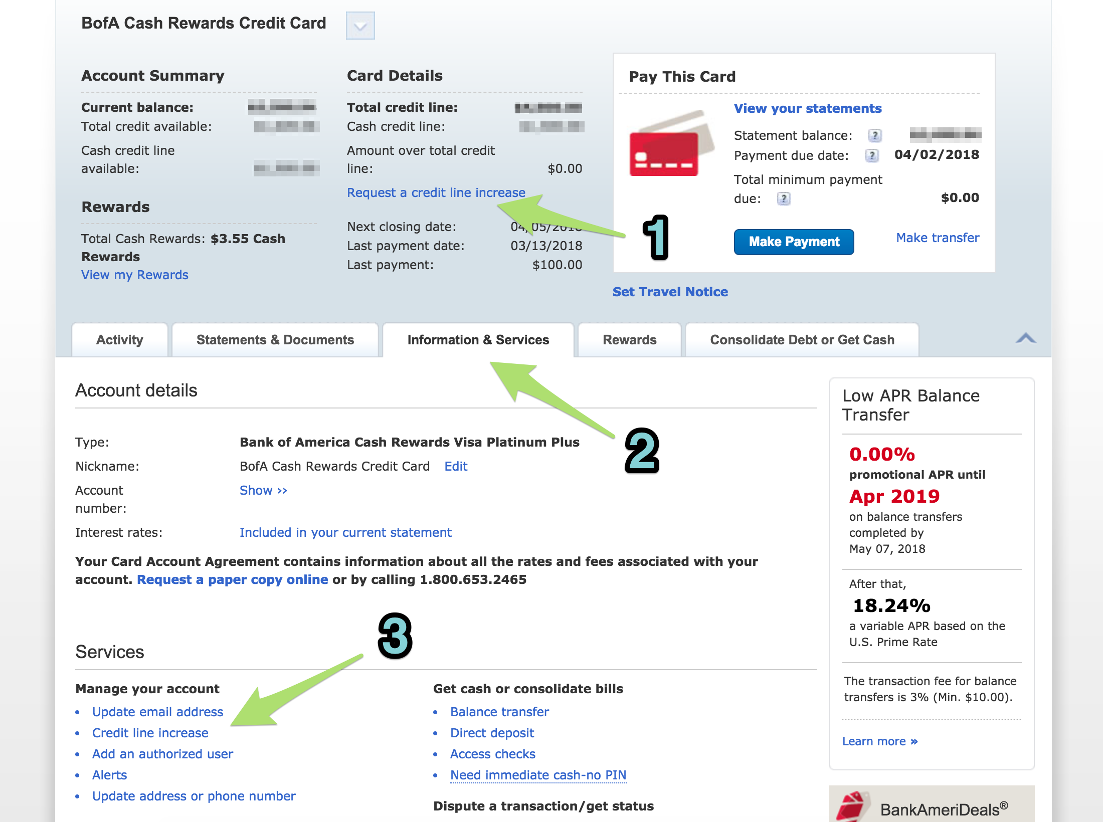 Requesting a credit line increase online with Bank of America