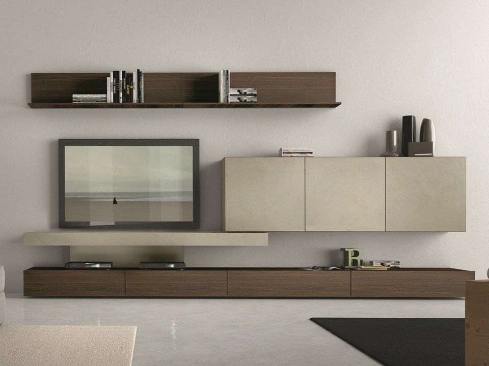 Sectional wall-mounted TV wall system I-modulArt - 282 by Presotto ...