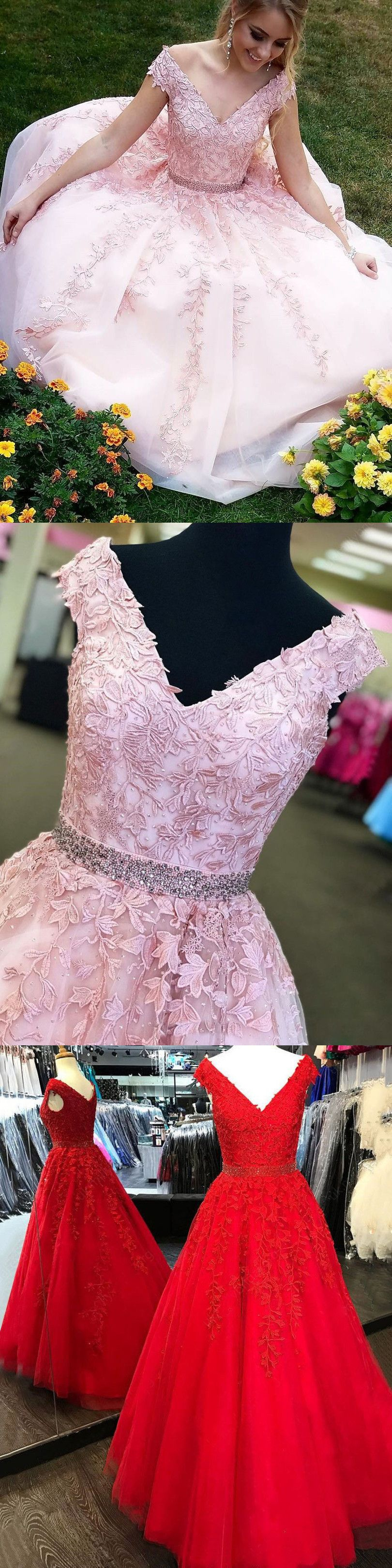 V neck pink prom dress modest simple cheap long lace prom dress