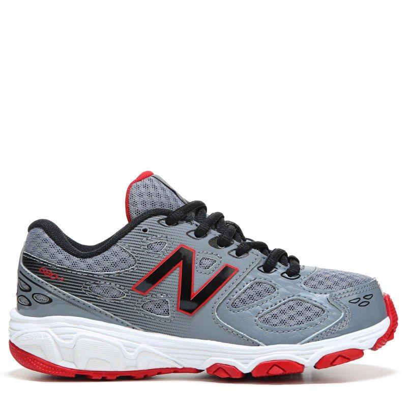 New Balance Kids' 680 Medium/Wide/X-Wide Running Shoe Pre/Grade School Shoes  (Grey/Black Leather)