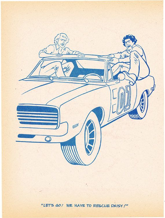 Coloring book page Dukes of Hazzard angry jump into General Lee Luke ...