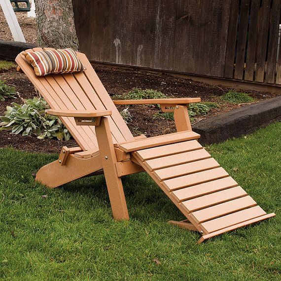 Recycled Plastic Folding Reclining Adirondack Chair W Pullout Ottoman