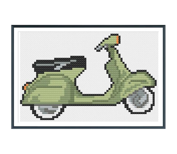 Vintage Scooter Cross Stitch Pattern Instant Download