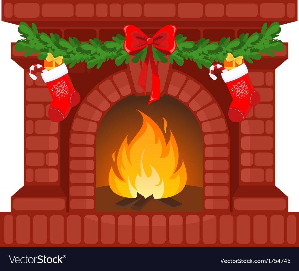 Christmas Fireplace Vector Image On Vectorstock Christmas Fireplace Christmas Crafts Christmas Diy