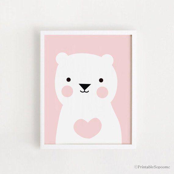 SOFORTIGER DOWNLOAD süße rosa Herz Bär Kinder Zimmer Kunst druckbare Kunst rosa und weiß für Baby Mädchen Dekor Kinderzimmer Wandkunst 8 x 10, 40 x 50 cm