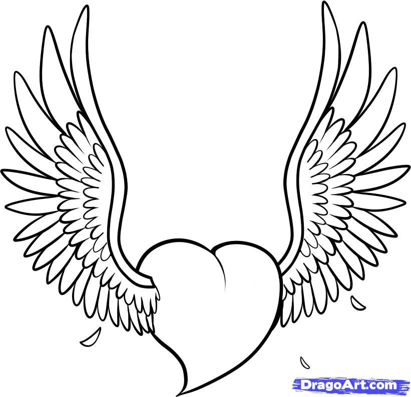 Heart With Wings Coloring Page Heart Drawing Wings Drawing