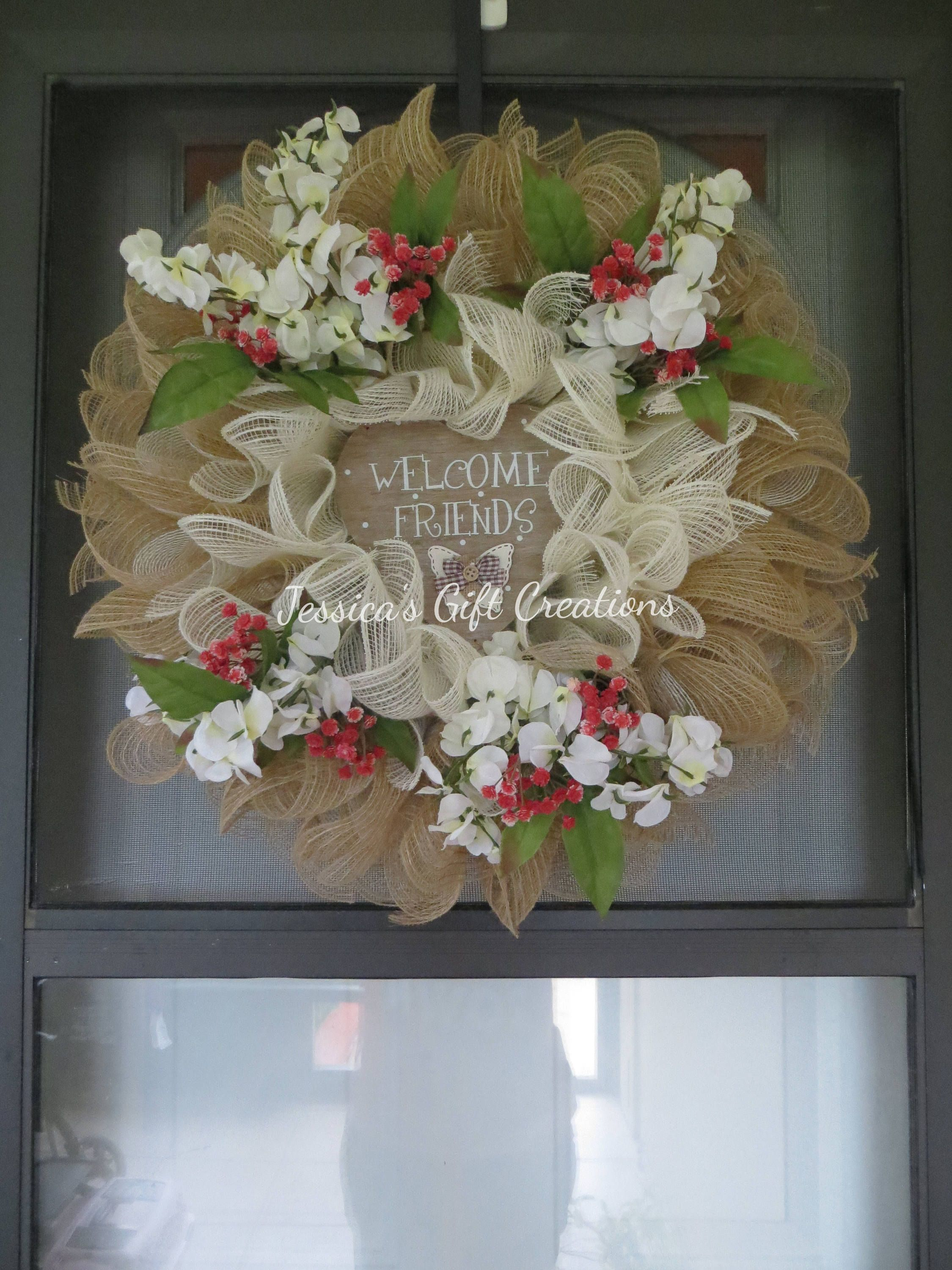 Ready To Ship Welcome Deco Mesh Wreath Front Door Everyday All Season