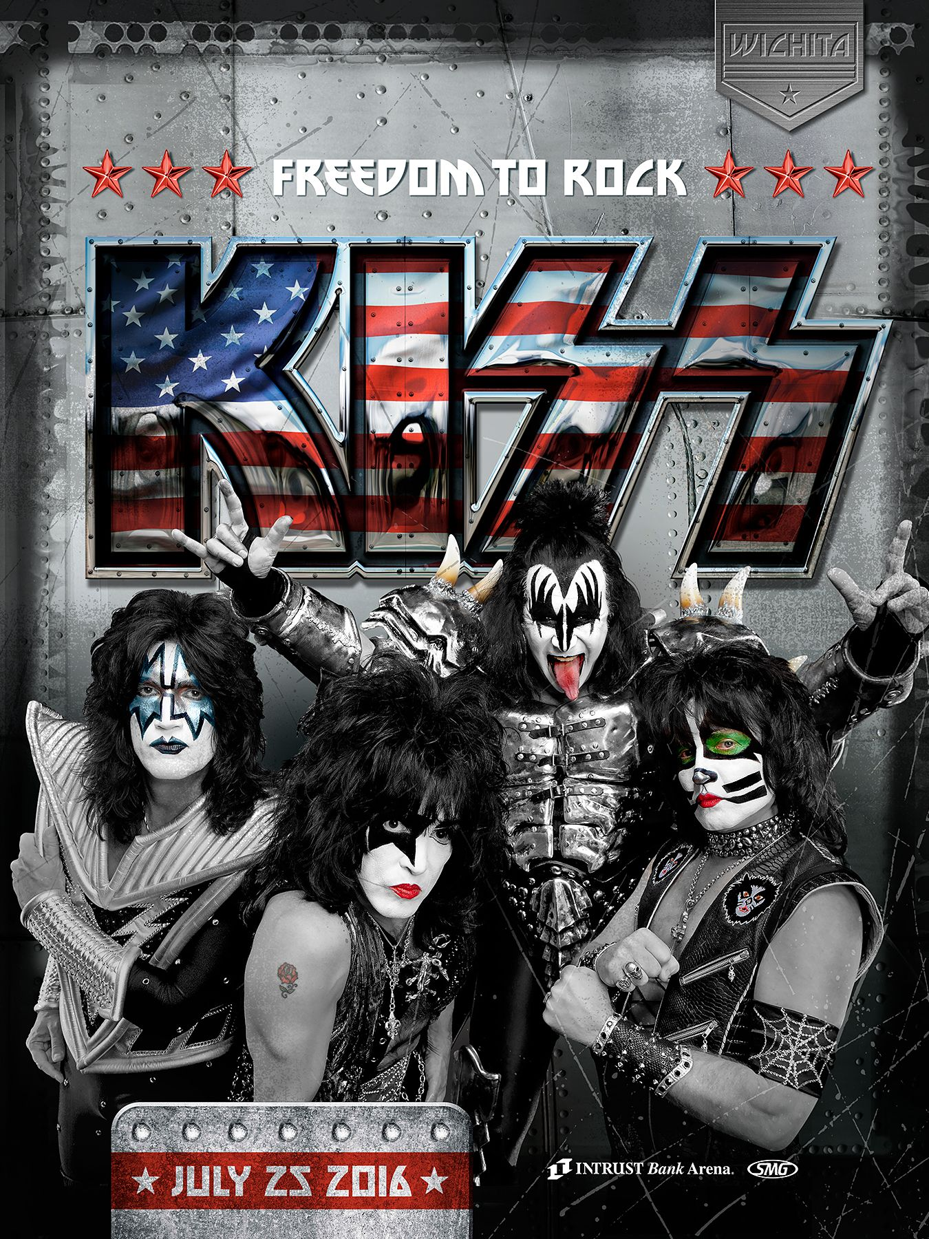 kiss freedom to rock tour july 25 2016 show posters kiss concert kiss band best rock bands. Black Bedroom Furniture Sets. Home Design Ideas