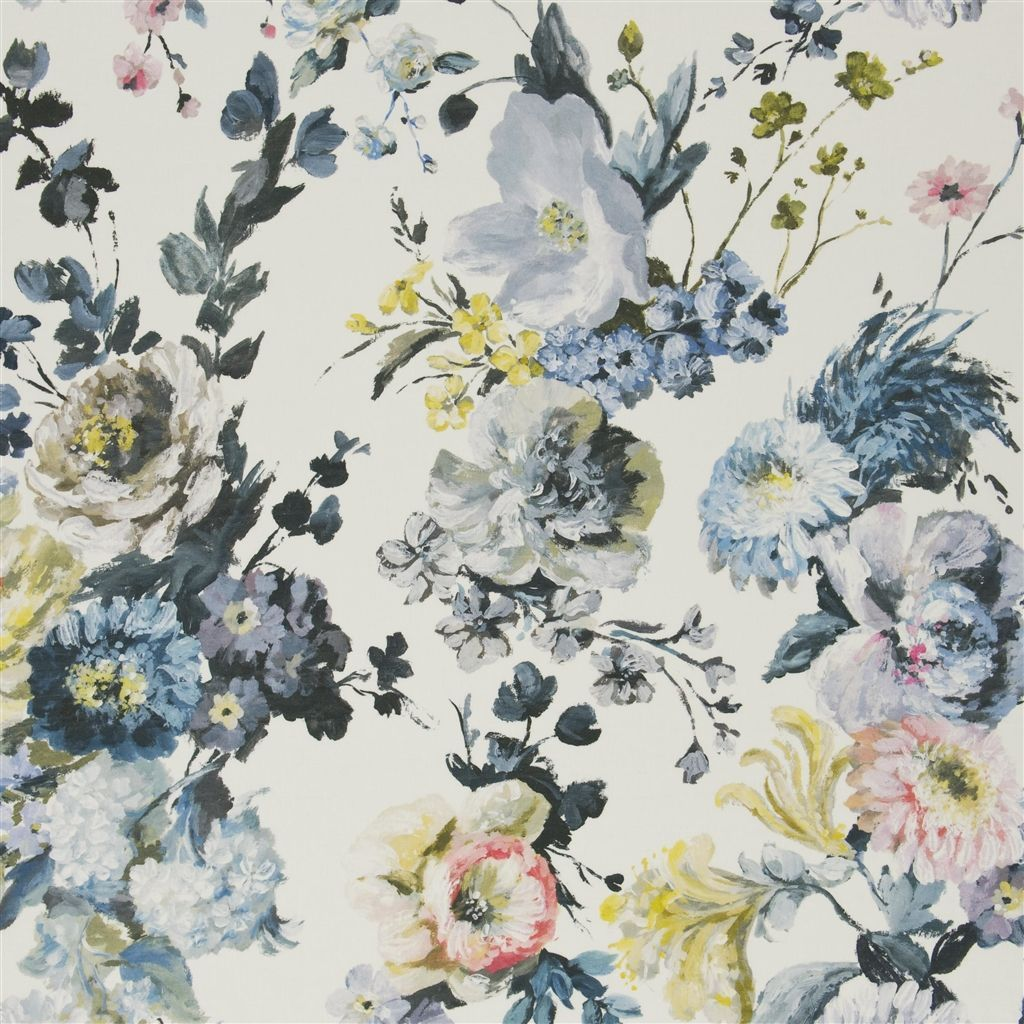 This fabric that you pulled is very pretty delft blue navy grey black pink peach yellow - Designers guild telas ...