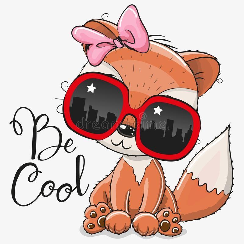 Cute Fox With Sun Glasses Cool Cartoon Cute Fox With Sun Glasses Royalty Free Illustration Cartoon Clip Art Cute Cartoon Drawings Cute Fox