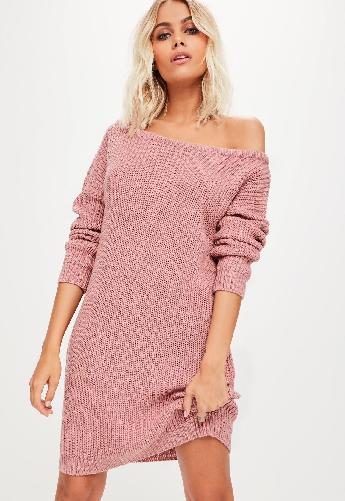 1b984890f43a Missguided - Pink Off Shoulder Sweater Dress