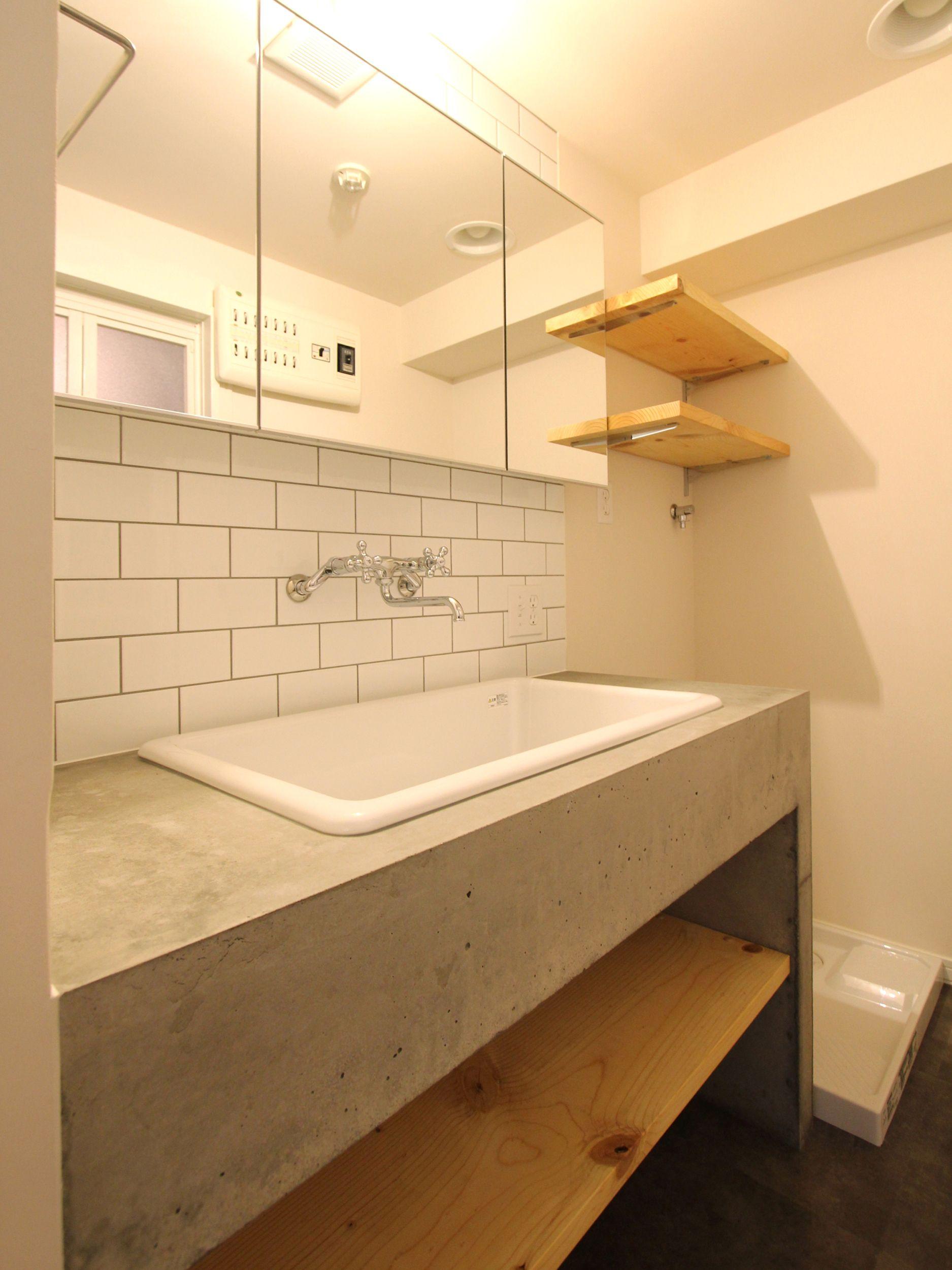 スモーキーな色使い 洗面所 リフォーム 造作 洗面台 モダンホーム