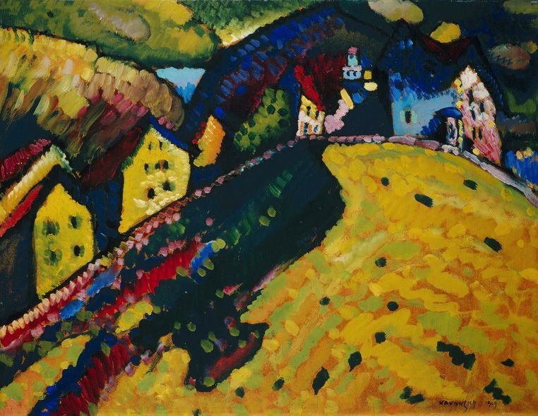 HOUSES AT MURNAU, 1909 Oil on canvas Chicago. USA. Art Institute of Chicago #kandinsky #kandinski #kandinskij http://www.wassilykandinsky.net/work-268.php