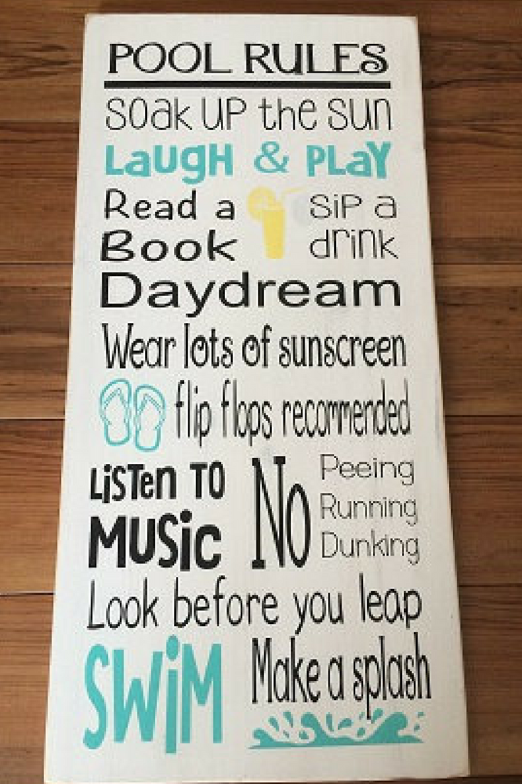 This sign is perfect for the backyard pool area! Pool Rules sign ...