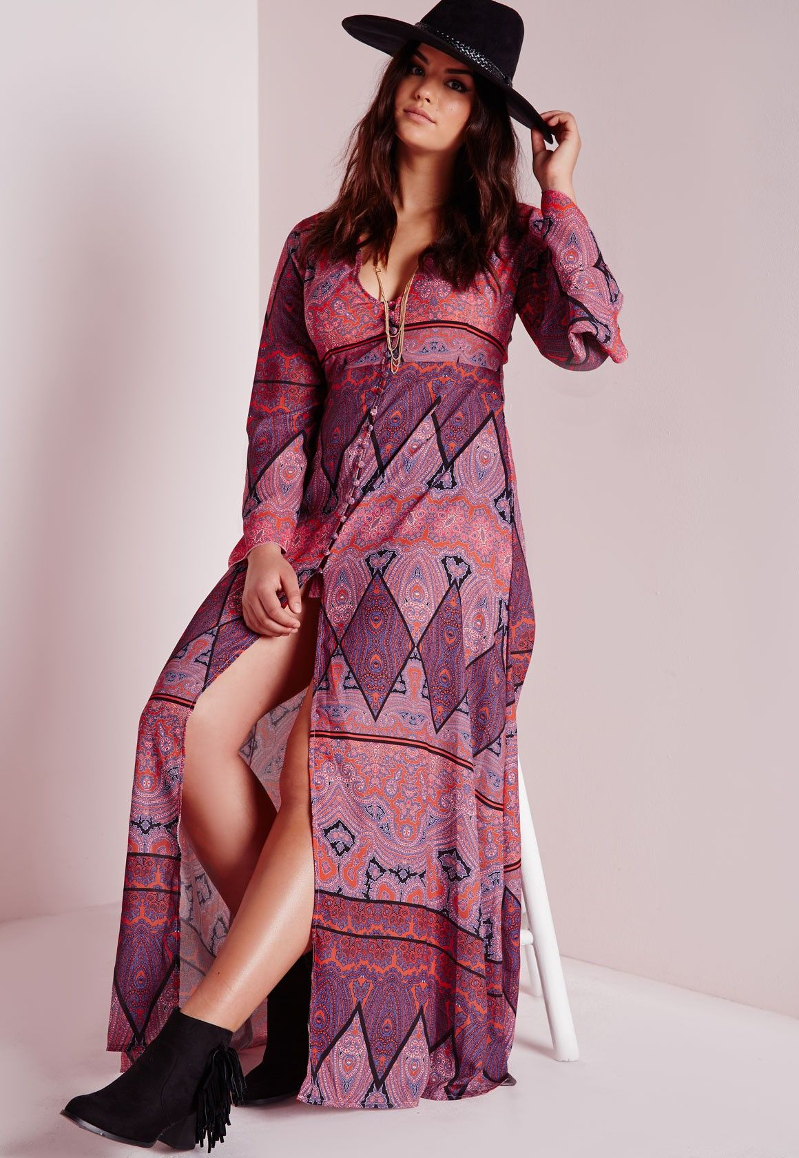 8210ba6663a Missguided - Plus Size Boho Maxi Dress Purple