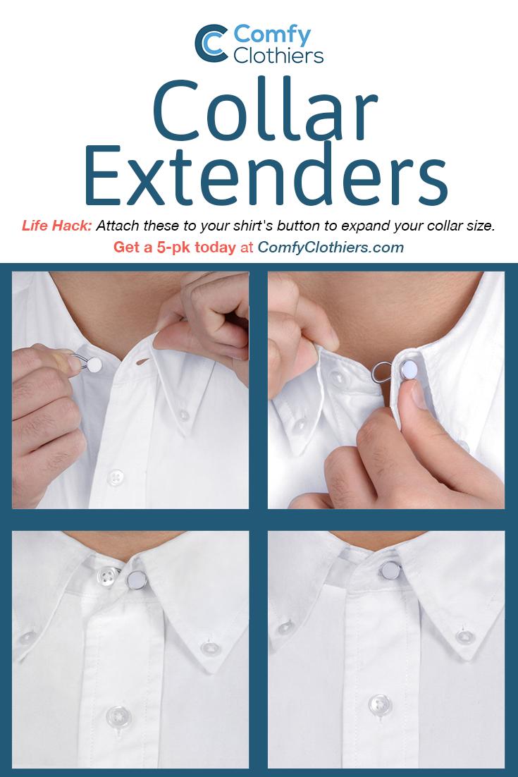 5 Shirt Collar Flexible Extenders White Alloy Expands Top Neck Tie Buttons Dress