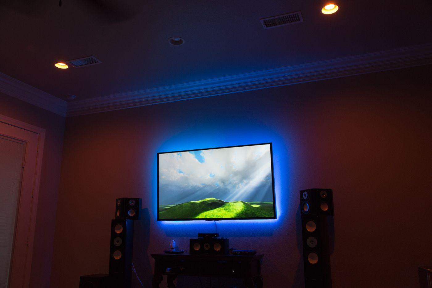 Philips Hue Behind Tv.Hue Lightsrips Behind Tv Google Search Living Room