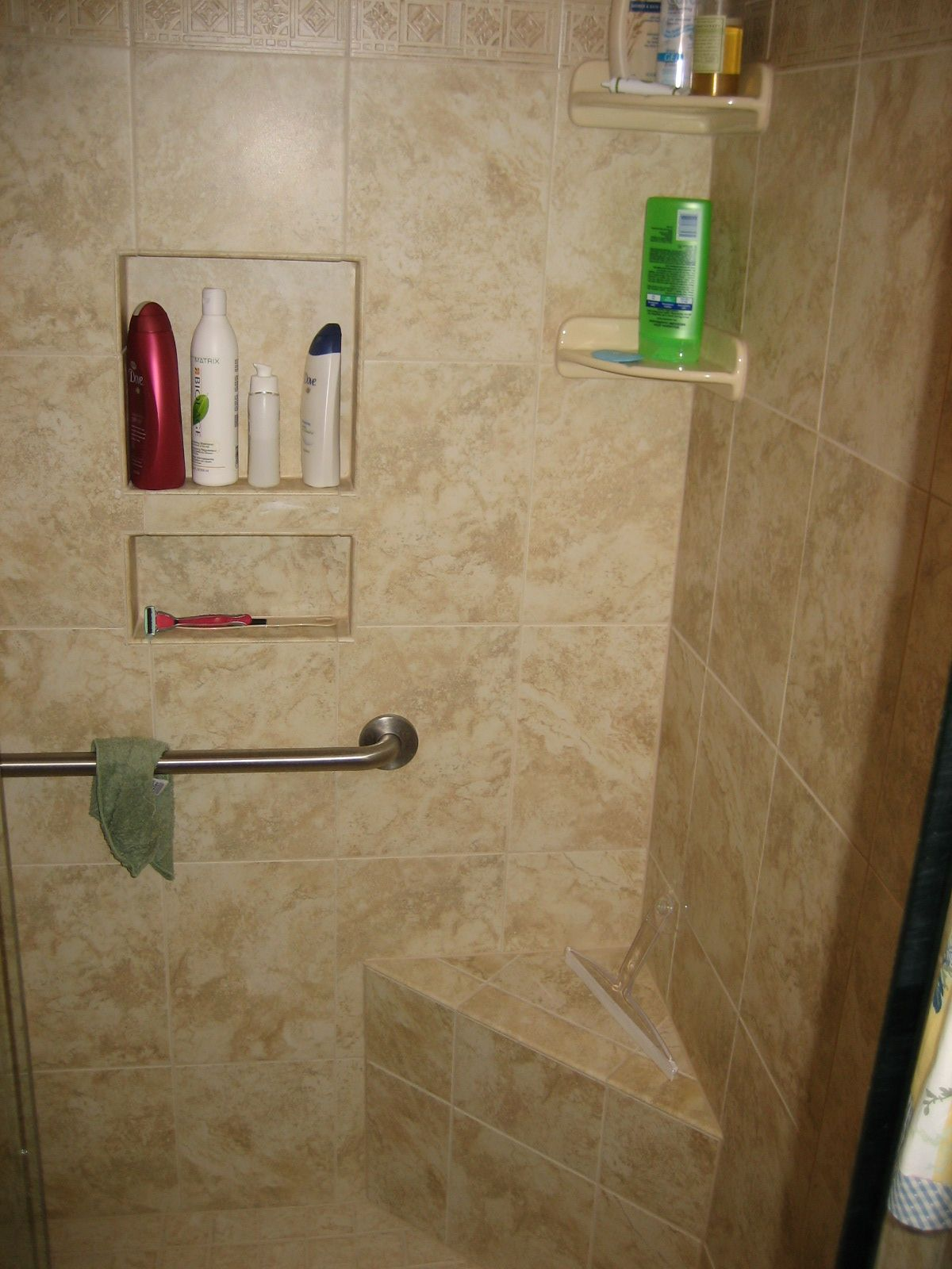 Custom Ceramic Shower Stall With Seat, Pigeon Hole For Shampoos And Corner  Shelves. Safety