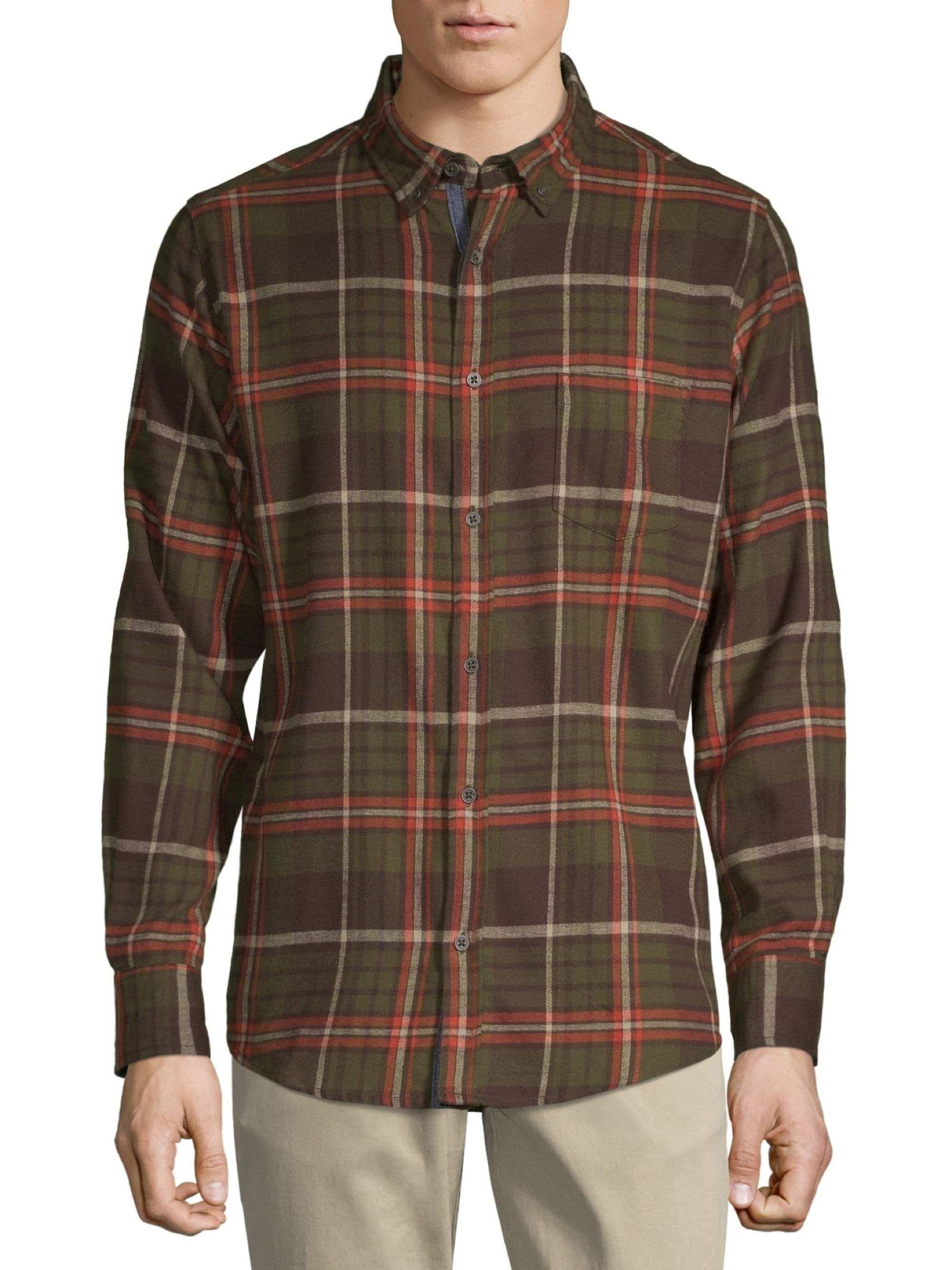One Day Away One Day Away Men S Long Sleeve Brushed Flannel Shirt Walmart Com Flannel Shirt Mens Long Sleeve Plaid Shirt Men [ 2667 x 2000 Pixel ]