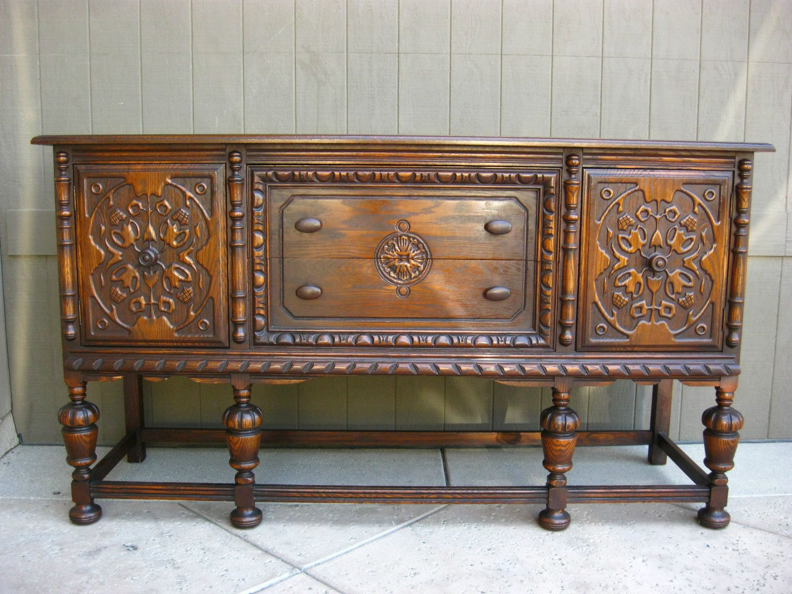Vintage Spanish Revival BUFFET Gorgeous Renaissance Carved Sideboard  Credenza | EBay