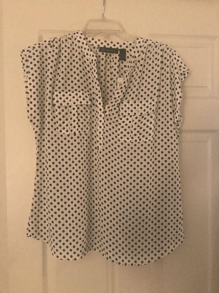 448f1f87c8f Macys INC Button Down Blouse Top Shirt Polka Dot Black & White Sz L ...