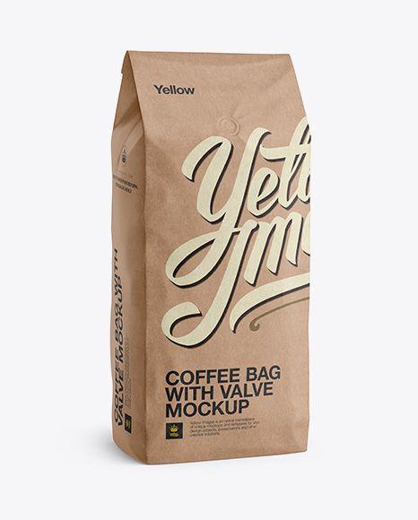 2 5 Kg Kraft Coffee Bag With Valve Mockup Half Turned View In Bag Sack Mockups On Yellow Images Object Mockups Free Mockup Mockup Mockup Free Psd