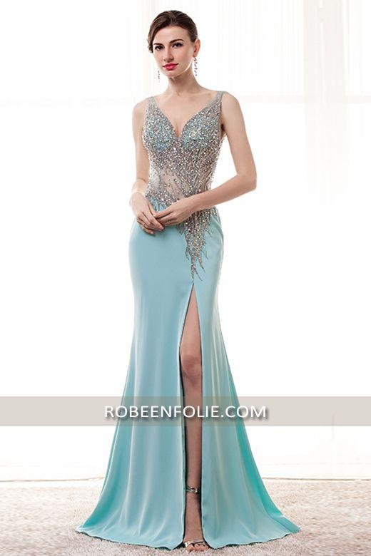 c882cc5b80d Robe longue pour invitée en bleu vert bustier décolleté en V tout perlé  avec la taille transparente