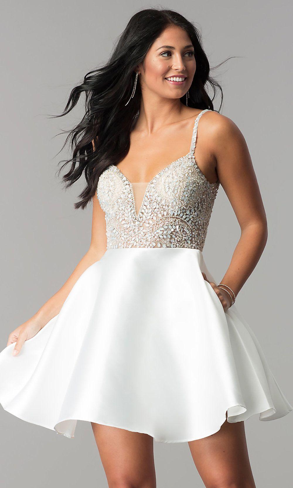 JVN by Jovani Open-Back V-Neck Short Homecoming Dress ...
