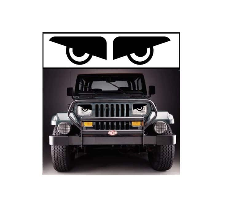 Yj Jeep Wrangler Headlight Angry Face Set Of 2 Jeep Decal Stickers