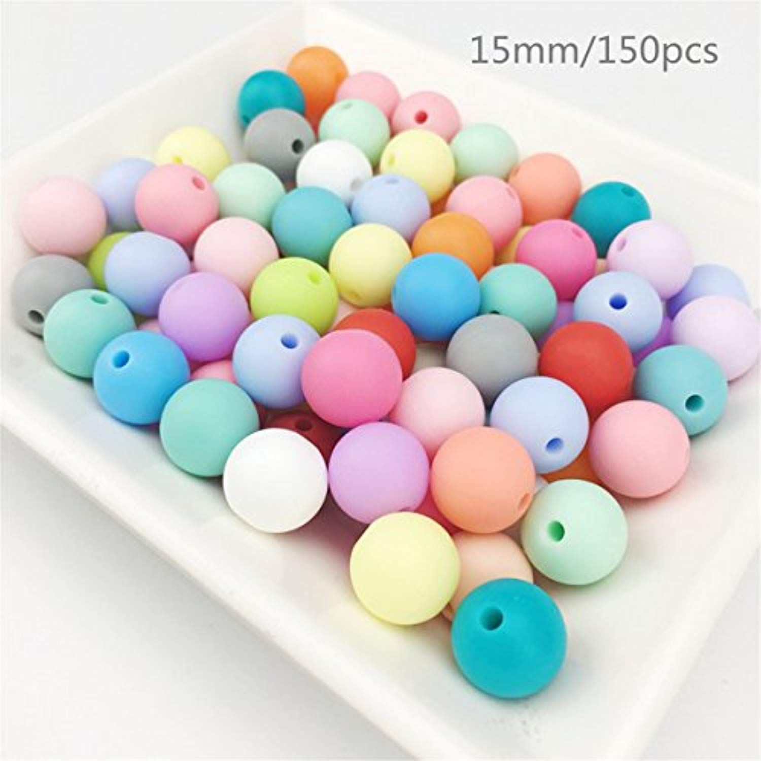 150pc 15mm Silicone Teething Beads Round Loose Organic Nusring Baby Chew Colorfu