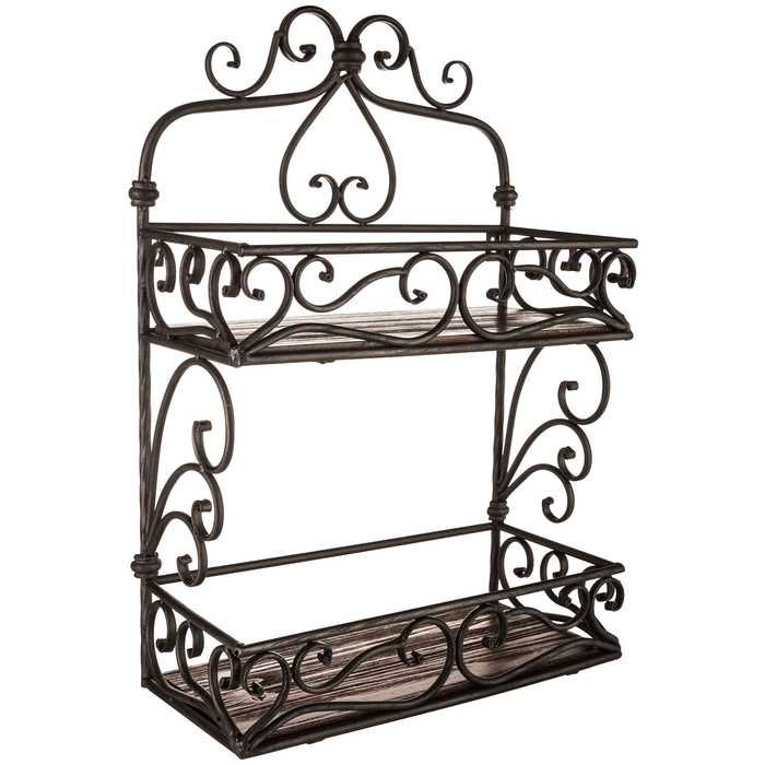 brown bathroom shelving ideas | Iron & Brown Wood Two-Tiered Scroll Wall Shelf in 2019 ...