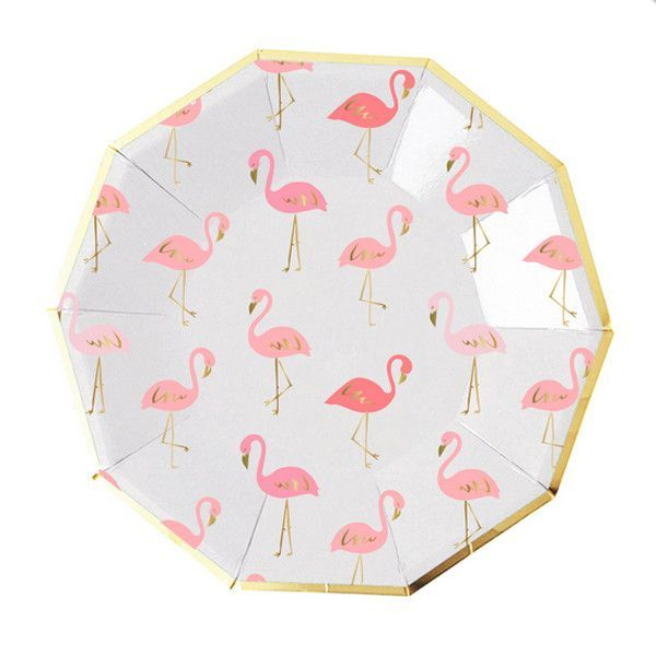 Let these sweet flamingos flock to your next party. With shades of pink and coral and gold foil accents these sweet paper plates will add a tropical touch ...  sc 1 st  Pinterest & Pink and Gold Flamingo Plates | Flamingo Gold and Flamingo party