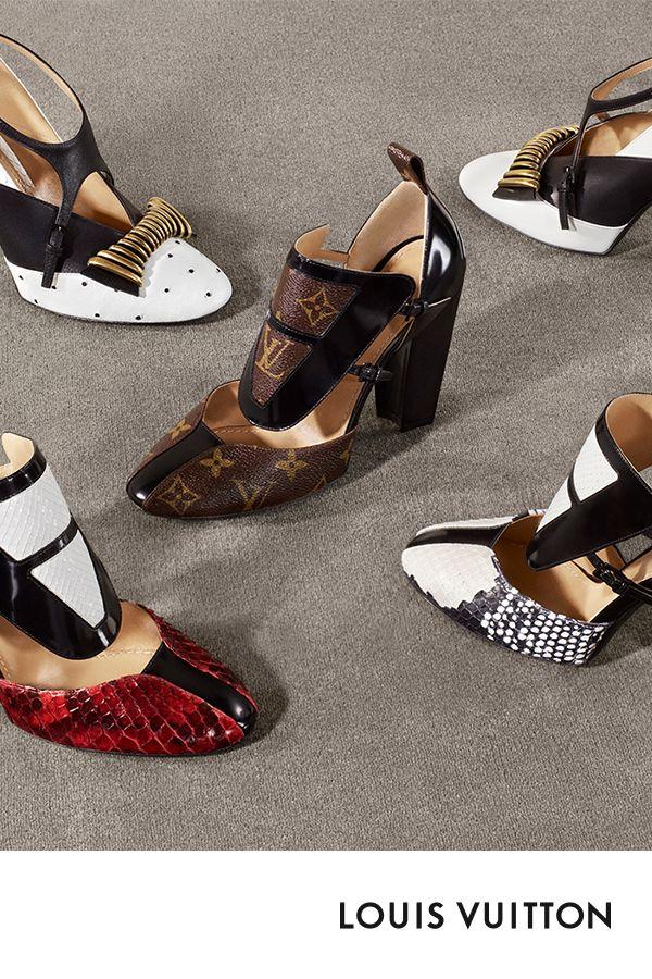 detailed look bdfb1 7b3d3 Louis Vuitton Collection Femme Automne-Hiver 2018. L escarpin Headline de  Louis Vuittn   le talon rétro, des lignes graphiques et des couleurs  audacieuses ...