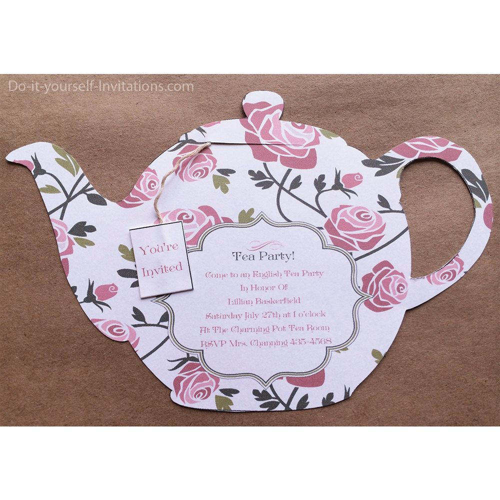 Printable All Occasion Tea Party Invitation- Tea Pot Invitation ...