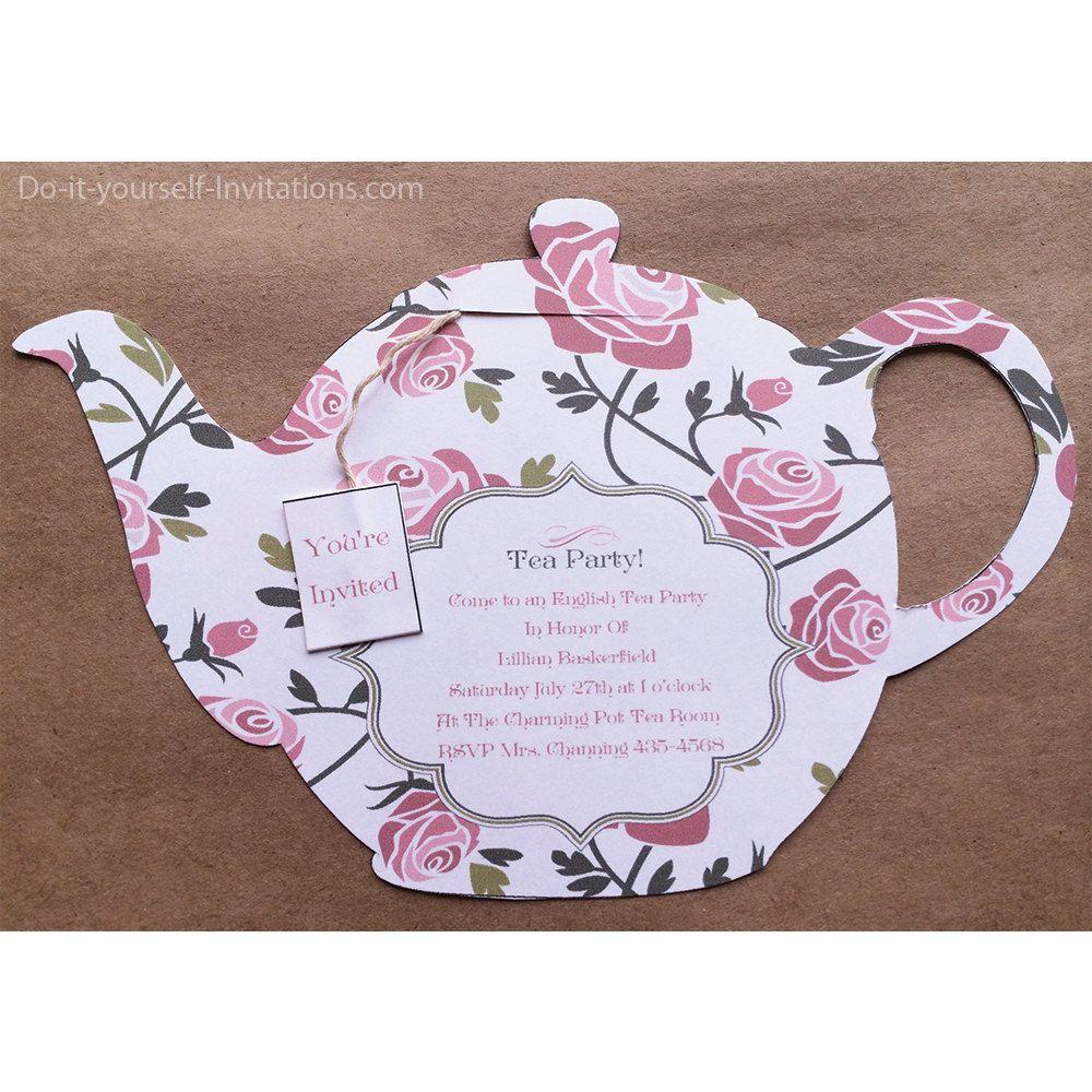 "Victorian ""Tea Pot"" Tea Party Invitations and Matching Envelope ..."
