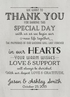 Wedding Thank You Card With Pre Printed Message On Back 2 Front