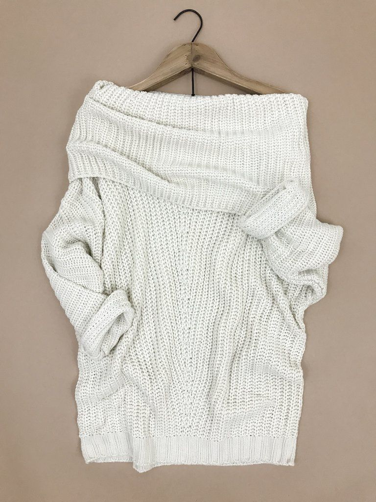 Fold Over Ribbed Sweater. Cozy fall sweaters. Winter outfit. Cream ...
