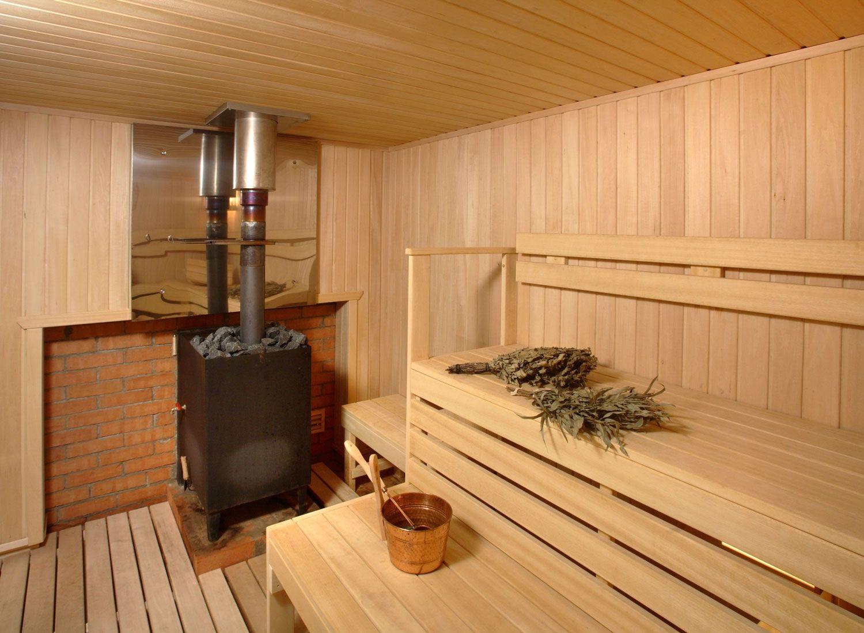 Печь в интерьере бани