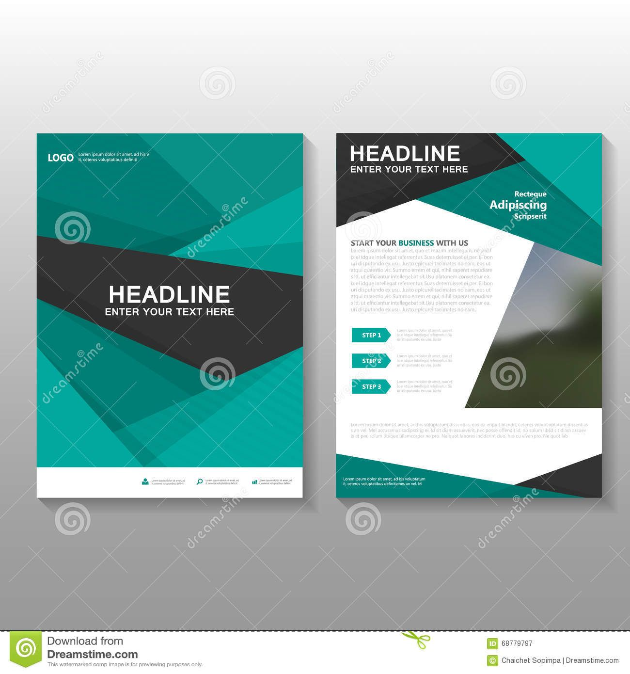 Book Cover Layout Download ~ Abstract green vector leaflet brochure flyer business
