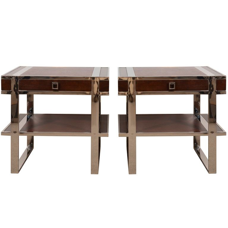 """Pair French 2-Tier Side Tables  France  1960's  Pair brown leather 2-tier side tables with drawer on polished chrome strap legs.    Price  $7,495    Condition*  Excellent    Measurements  height: 20 1/2""""  depth: 15 1/2""""  width/length: 21 3/4"""""""